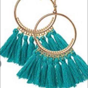 Green Bohemian Tassel Earrings